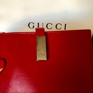 GUCCI Red Leather Compact Wallet Silver Gucci Logo